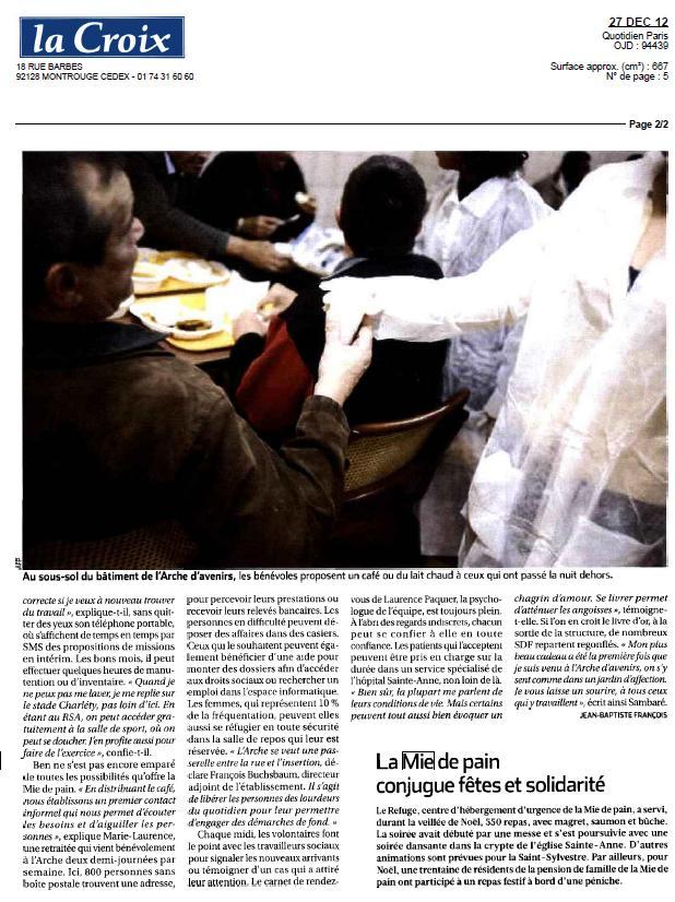 Aperçu La Croix 27 décembre 2012