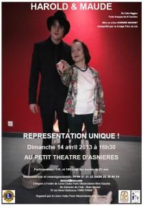 Affiche Harold et Maude - Théâtre d'Asnières