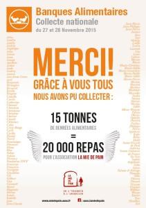 Affiche remerciements collecte 2015